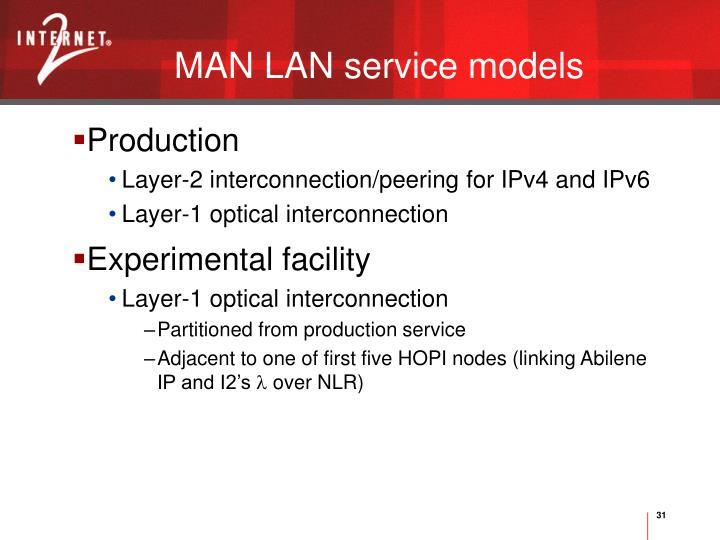MAN LAN service models