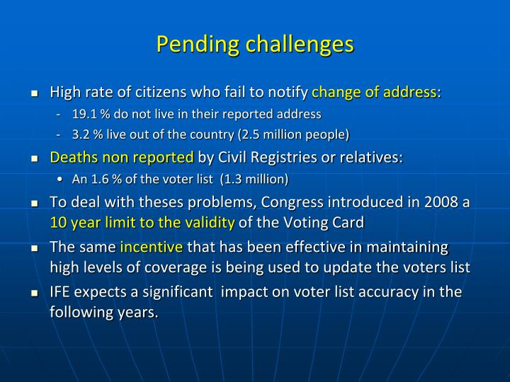 Pending challenges