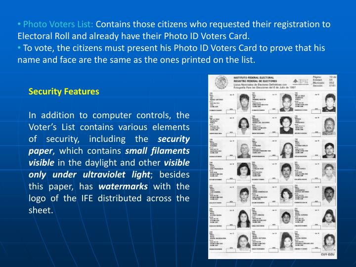 Photo Voters List: