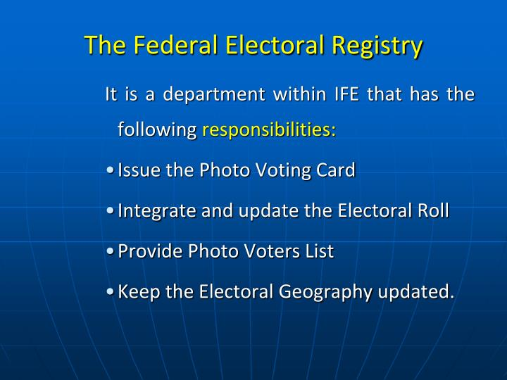 The Federal Electoral Registry