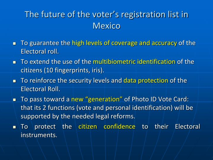 The future of the voter's registration list in Mexico