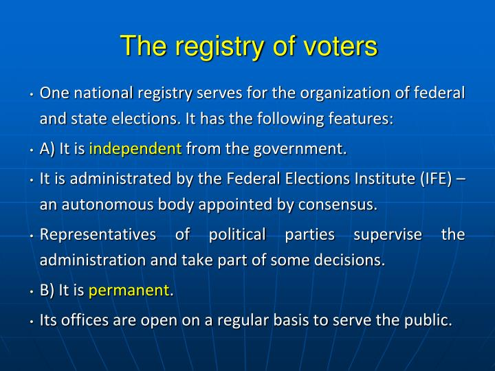 The registry of voters