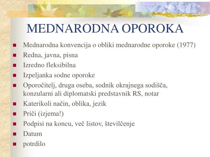 MEDNARODNA OPOROKA
