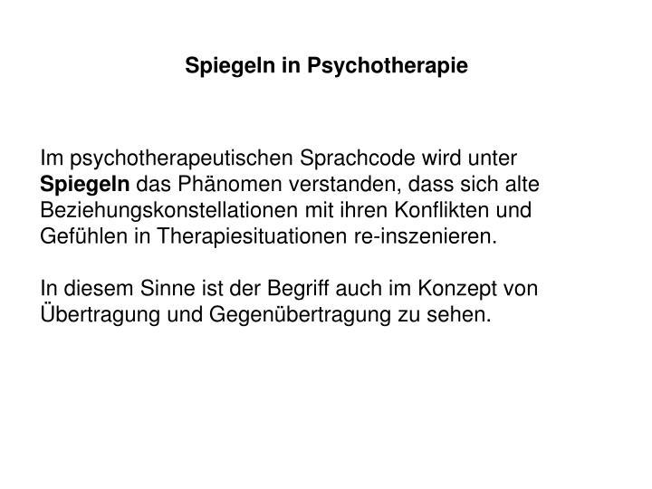 Spiegeln in Psychotherapie