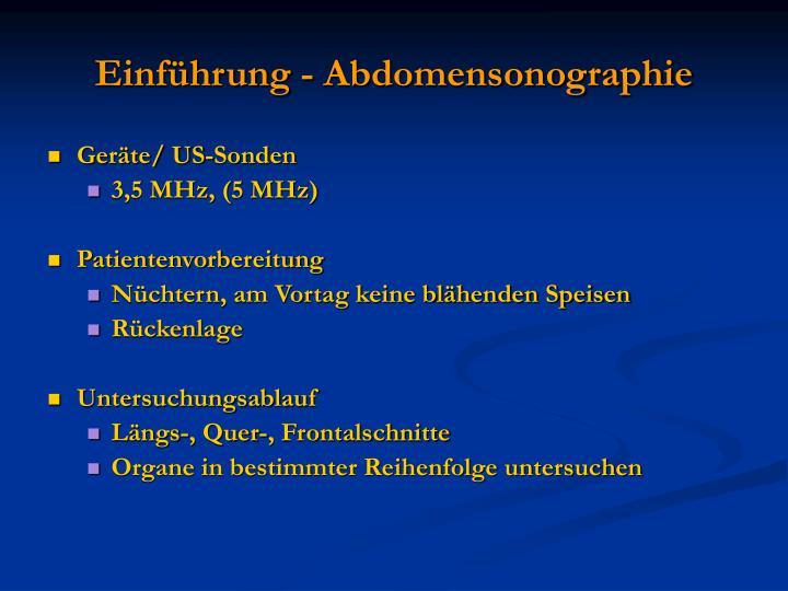 Einführung - Abdomensonographie
