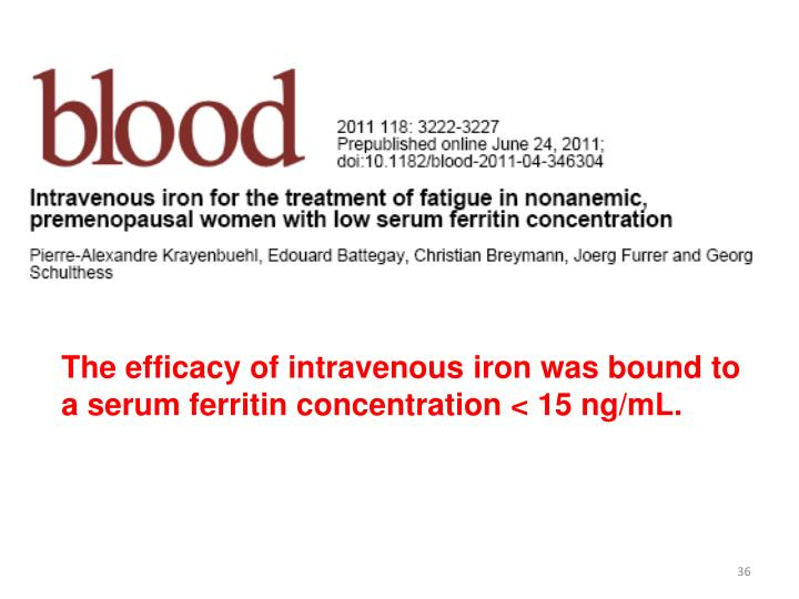 The efficacy of intravenous
