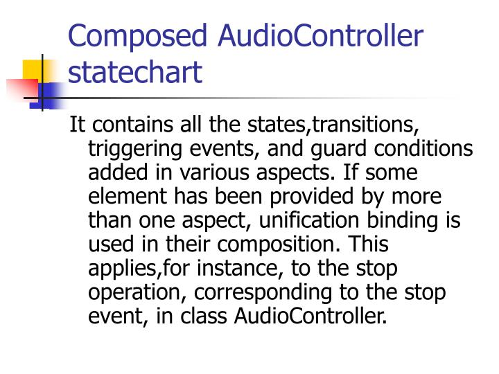 Composed AudioController statechart