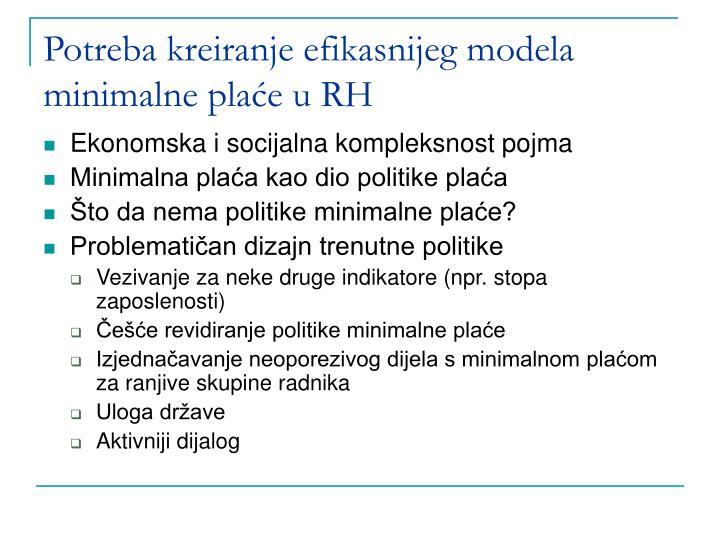 Potreba kreiranje efikasnijeg modela minimalne plaće u RH
