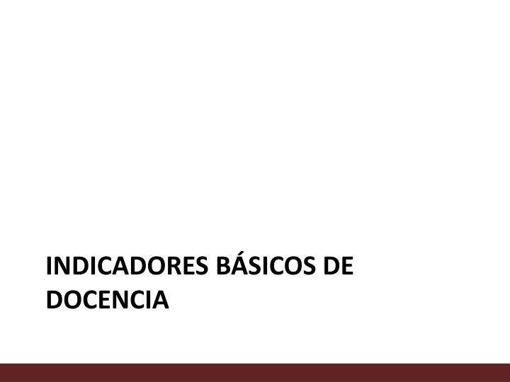 INDICADORES BÁSICOS DE DOCENCIA
