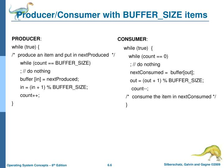 Producer/Consumer with BUFFER_SIZE items