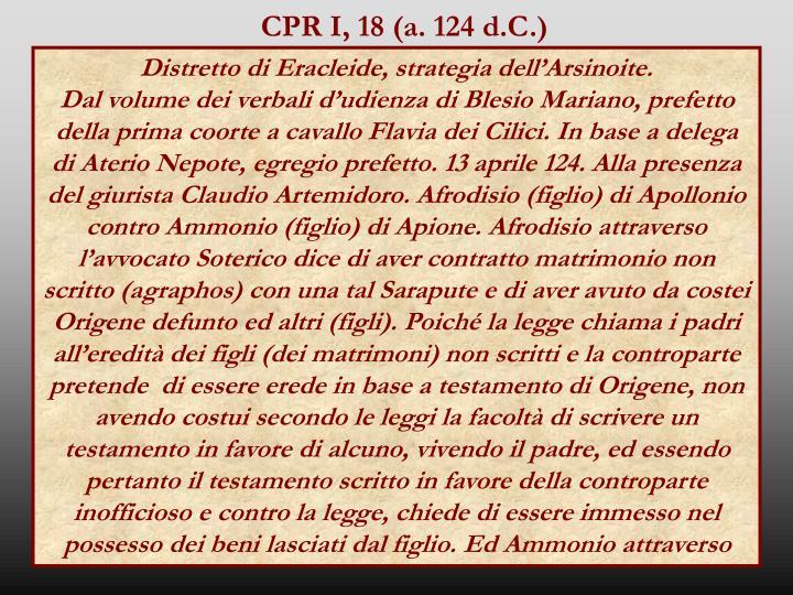 CPR I, 18 (a. 124 d.C.)