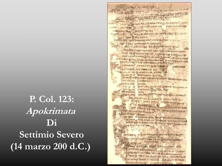 P. Col. 123: