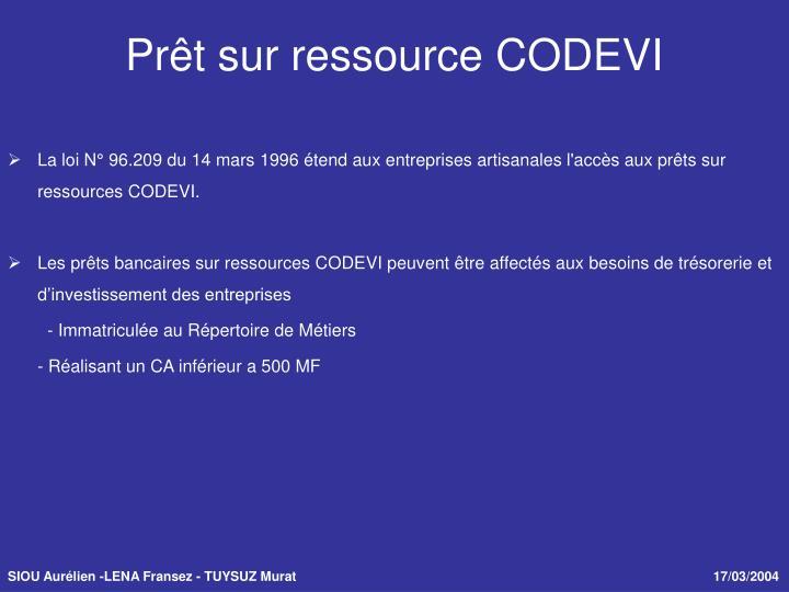 La loi N° 96.209 du 14 mars 1996 étend aux entreprises artisanales l'accès aux prêts sur ressources CODEVI.