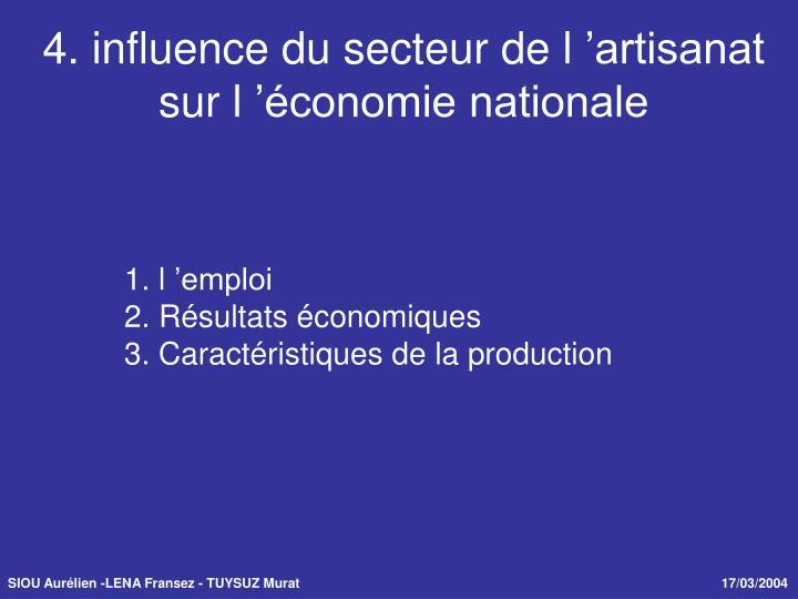 4. influence du secteur de l'artisanat sur l'économie nationale