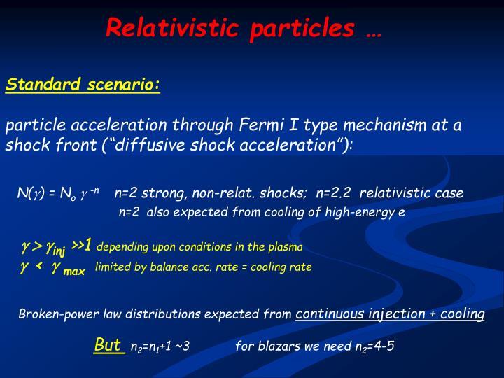 Relativistic particles …