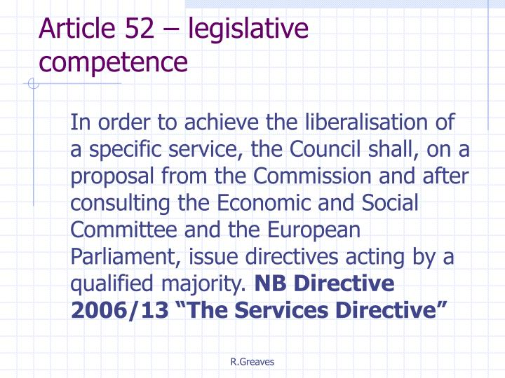 Article 52 – legislative competence