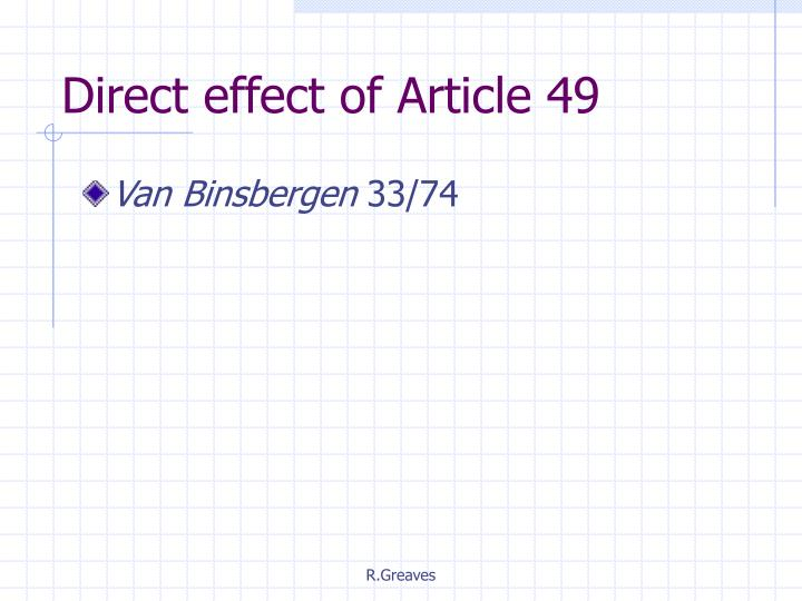 Direct effect of Article 49