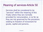 meaning of services article 50