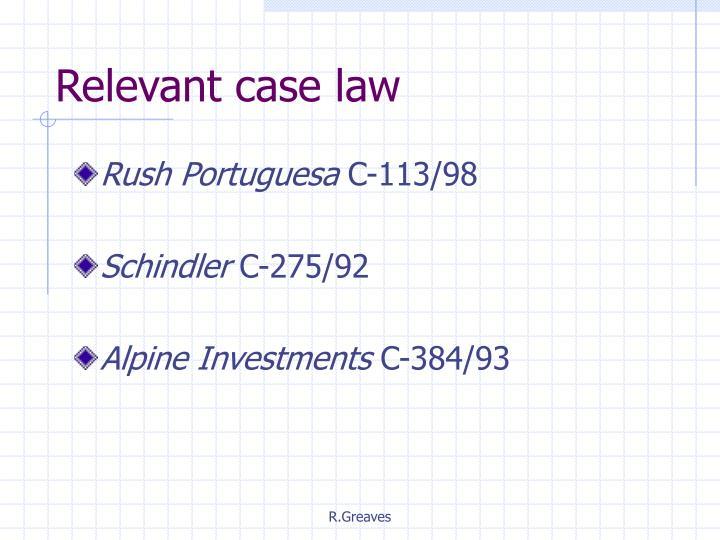 Relevant case law