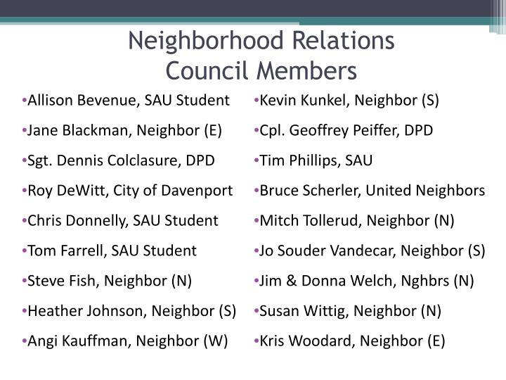 Neighborhood Relations