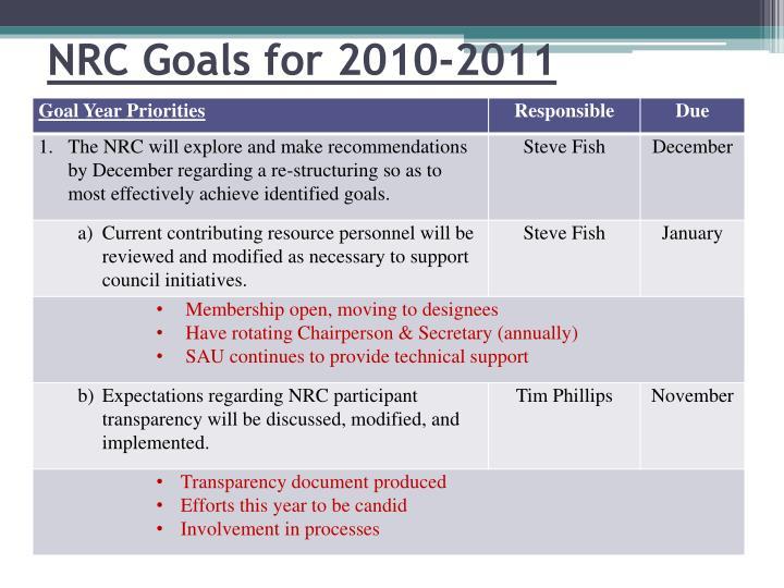 NRC Goals for 2010-2011