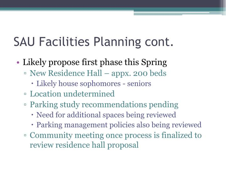 SAU Facilities Planning cont.