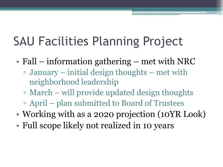 SAU Facilities Planning Project