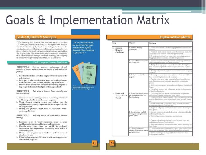 Goals & Implementation Matrix