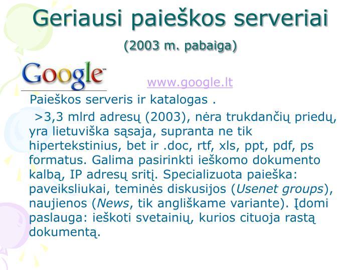 Geriausi paieškos serveriai