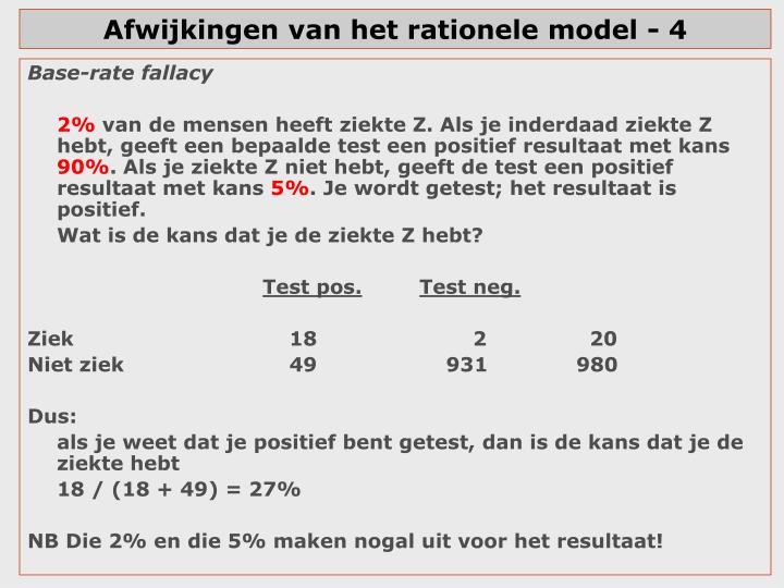 Afwijkingen van het rationele model - 4