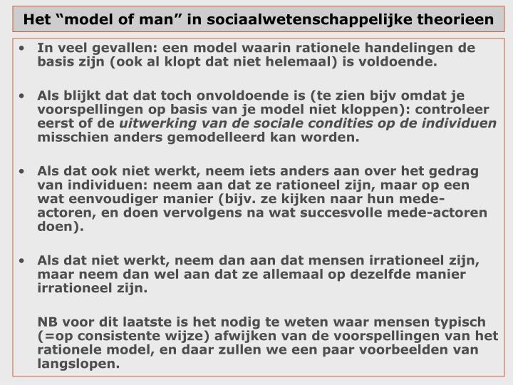 """Het """"model of man"""" in sociaalwetenschappelijke theorieen"""