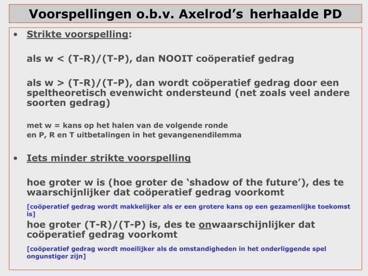 Voorspellingen o.b.v. Axelrod'sherhaalde PD