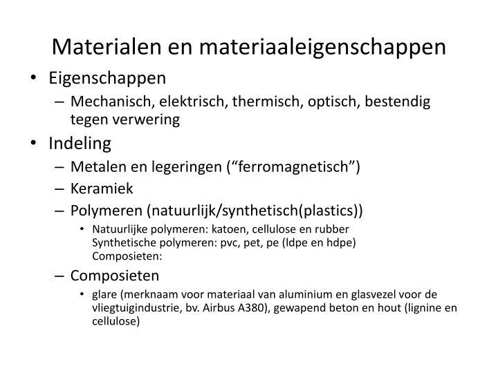 Materialen en materiaaleigenschappen