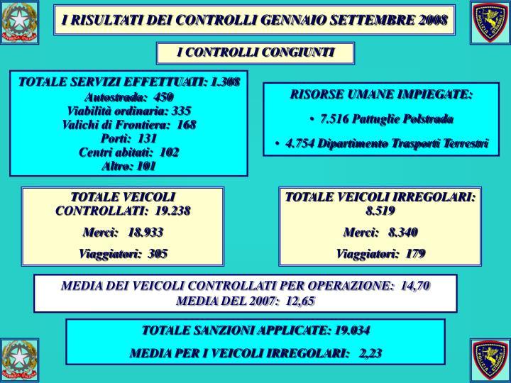 I RISULTATI DEI CONTROLLI GENNAIO SETTEMBRE 2008