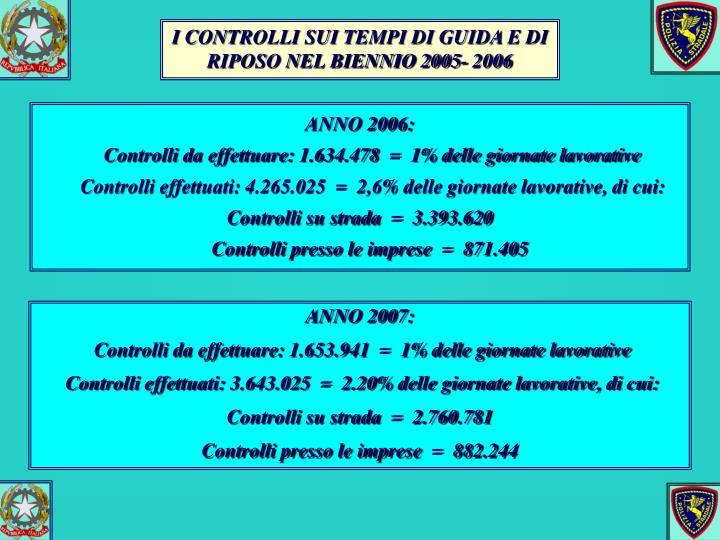 I CONTROLLI SUI TEMPI DI GUIDA E DI RIPOSO NEL BIENNIO 2005- 2006