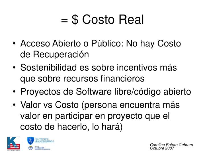 = $ Costo Real