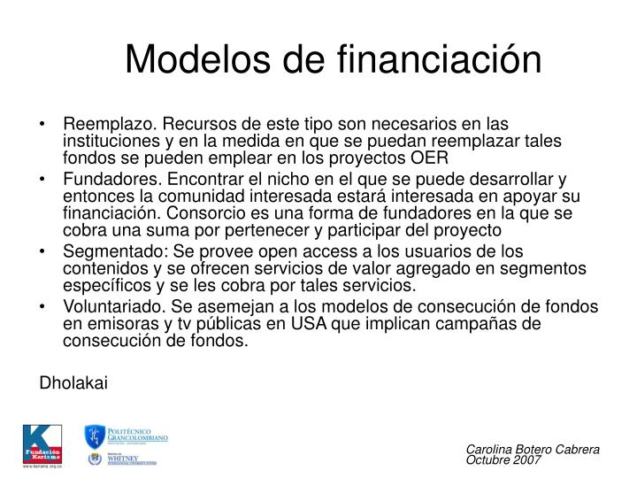 Modelos de financiación