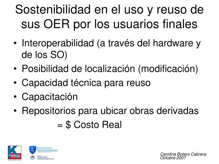 Sostenibilidad en el uso y reuso de sus OER por los usuarios finales