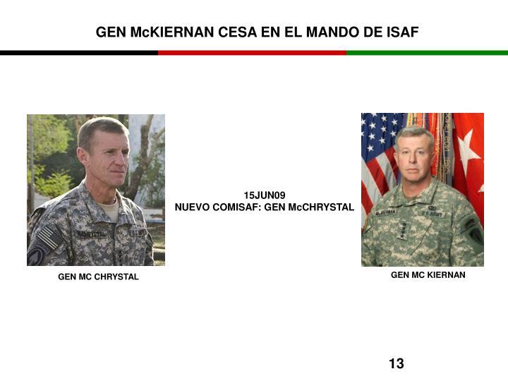 GEN McKIERNAN CESA EN EL MANDO DE ISAF