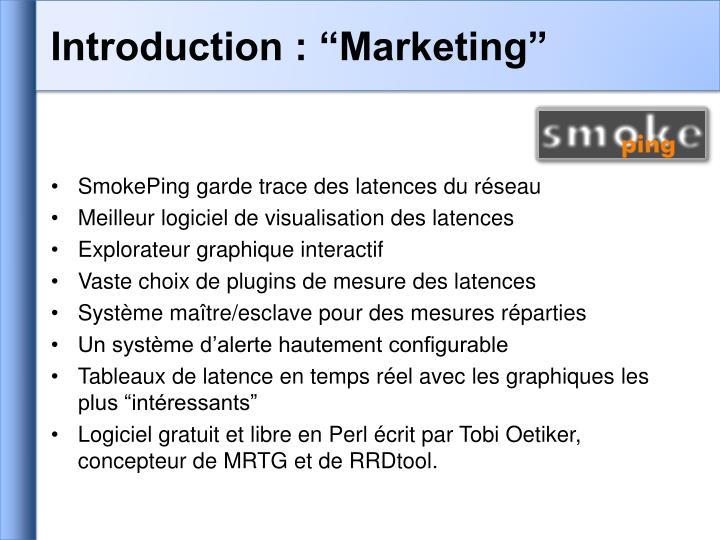 "Introduction : ""Marketing"""