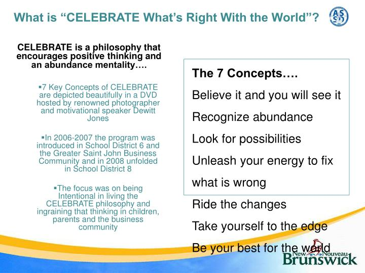 "What is ""CELEBRATE What's Right With the World""?"