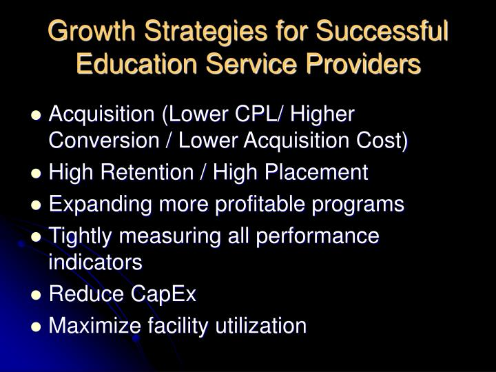 Growth Strategies for Successful Education Service Providers