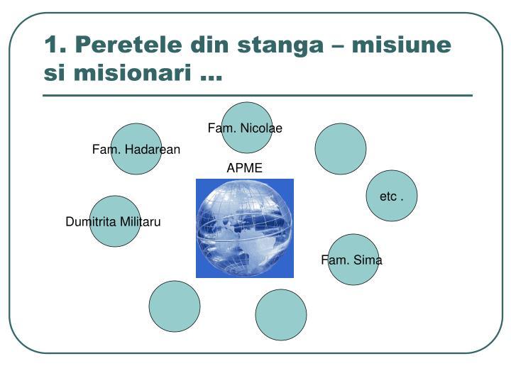 1. Peretele din stanga – misiune si misionari …