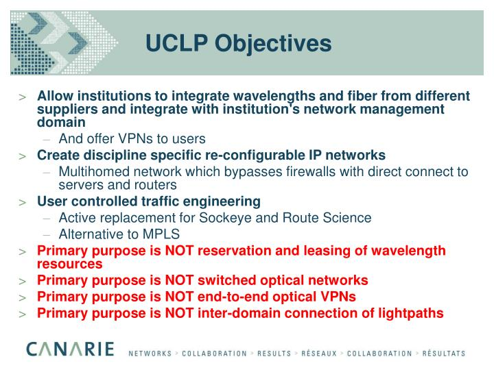 UCLP Objectives