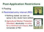 post application restrictions
