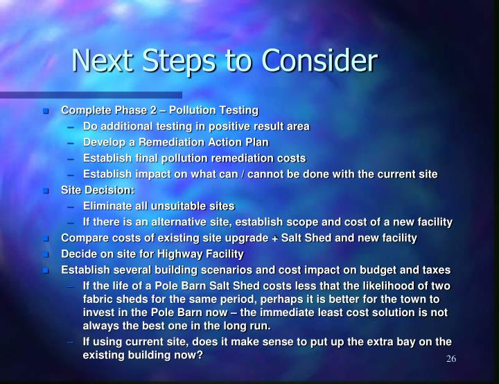 Next Steps to Consider