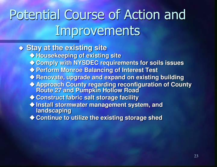 Potential Course of Action and Improvements