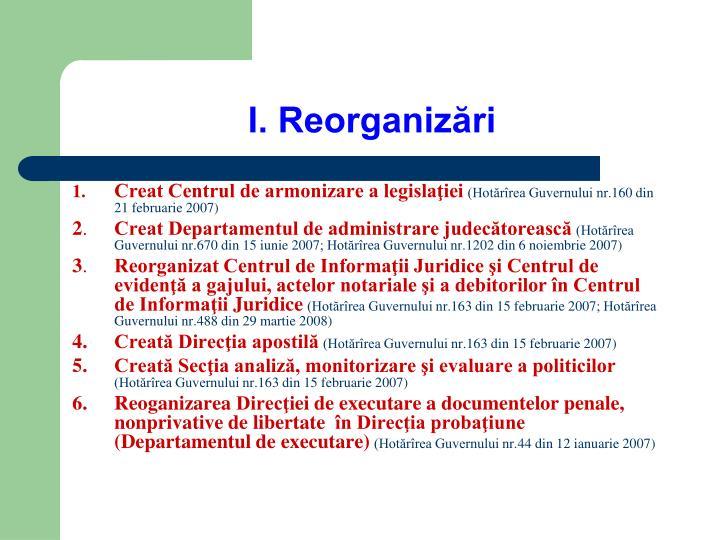 I. Reorganizări