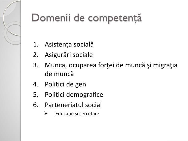 Domenii de competență
