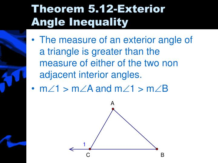 Ppt 5 5 inequalities in one triangle powerpoint for Exterior angle theorem
